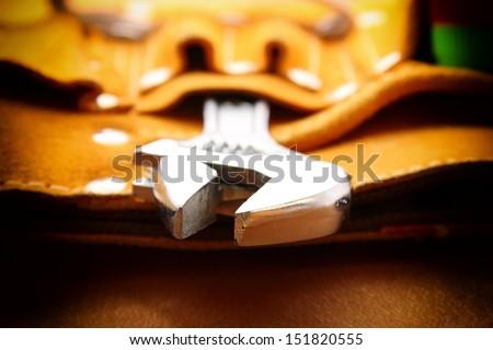 Wrench in tools bag. - stock photo