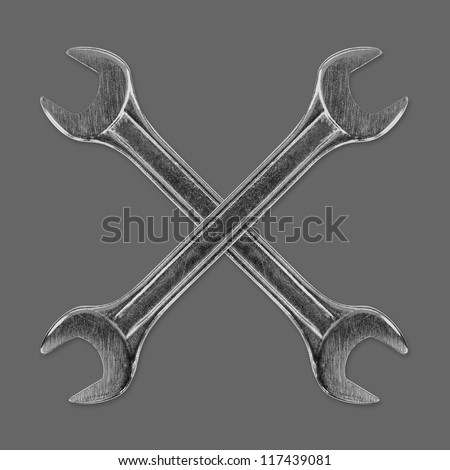wrench on a gray background - stock photo