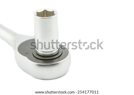 Wrench ratchet and socket size 15mm isolated on white background. - stock photo