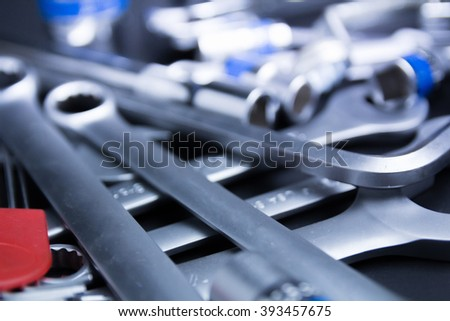 wrench steel tools for repair - stock photo