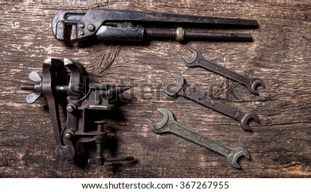 Wrenches and drives on textured board