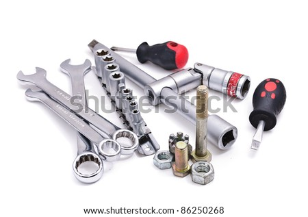 Wrenches of various sizes. Isolated on white background - stock photo