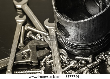 Wrenches tool, nuts and bolts ,piston of bike engine