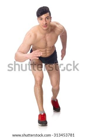 Wrestler isolated on white background - stock photo