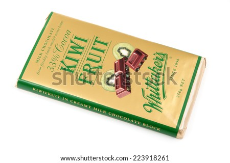 WREXHAM, UNITED KINGDOM - OCT 7, 2014: Whittaker's Kiwi Fruit Chocolate. J.H. Whittaker & Sons, Ltd is based in Porirua, New Zealand and the biggest confectionery brand in New Zealand.