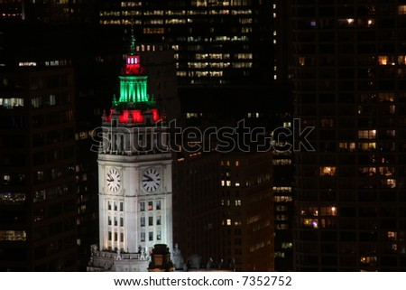wrigley building night holiday lights downtown stock photo royalty