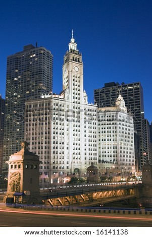 Wrigley Building by night - Chicago, IL. - stock photo