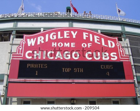 Wrigley Field Scoreboard - Chicago Cubs - stock photo