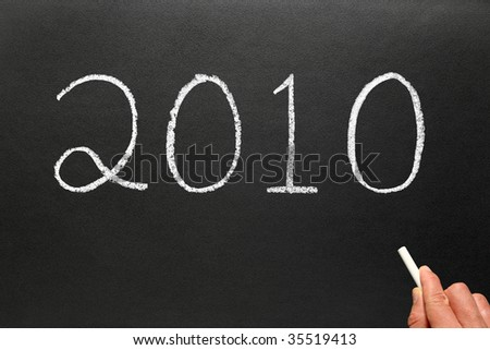 Wring the year 2010 on a blackboard.