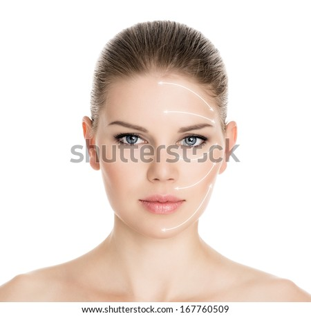 Wrinkle therapy. Rejuvenation treatment on beautiful woman face. Portrait of attractive Caucasian blue eyed female  isolated over white background. - stock photo