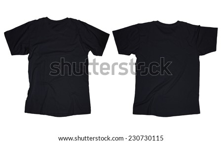 Wrinkled blank black t-shirt template, front and back design isolated on white - stock photo