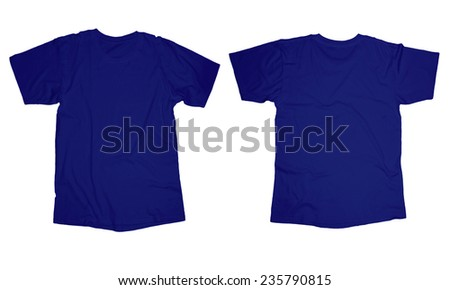 Wrinkled blank blue shirt template, front and back design isolated on white - stock photo
