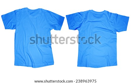 Wrinkled blank light blue t-shirt template, front and back design isolated on white - stock photo