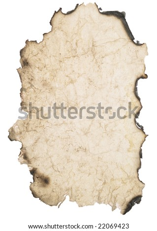 wrinkled burnt paper over white background