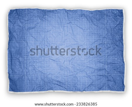 Wrinkled engineering graph paper. Blue graph paper background - stock photo