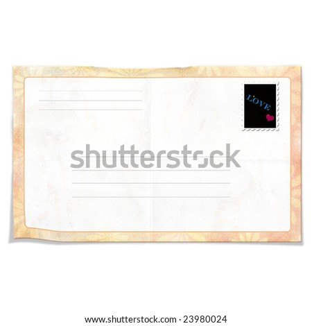 wrinkled envelope with stamp - stock photo