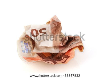 Wrinkled 50 euro note isolated on a white background.