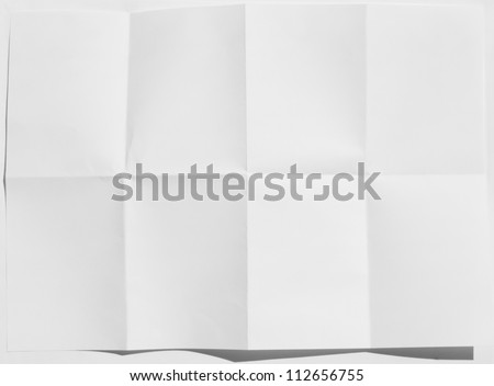 Wrinkled fold white sheet of paper texture - stock photo