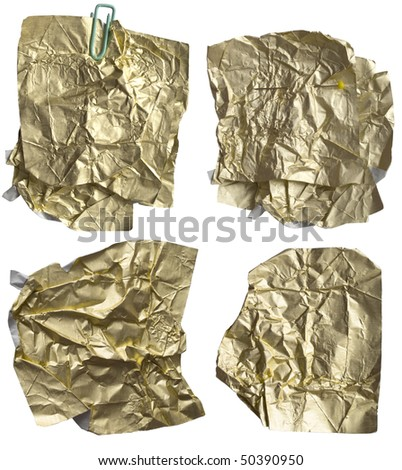 wrinkled gold, shiny papers - stock photo