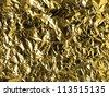 wrinkled golden foil background texture - stock photo