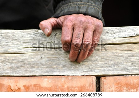 Wrinkled hand of a senior man - stock photo