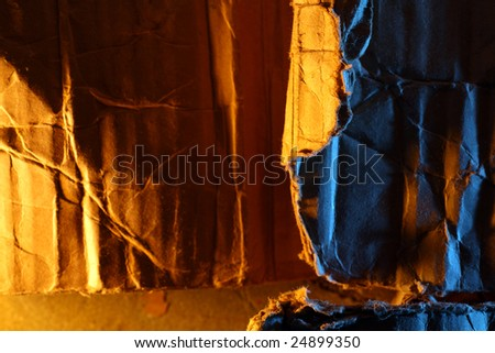 Wrinkled old cardboard paper background - stock photo