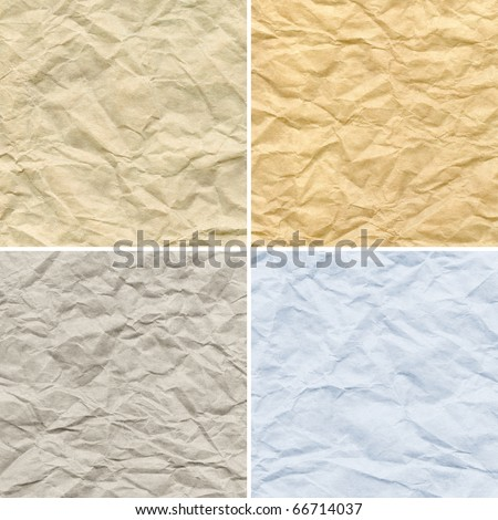 wrinkled old paper textures set - stock photo