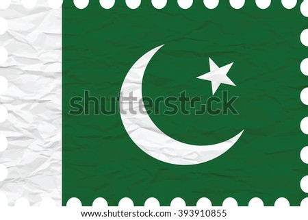 wrinkled paper pakistan stamp, abstract art illustration, image contains transparency