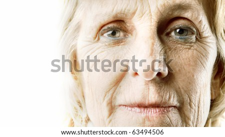 Wrinkled woman's visage - stock photo