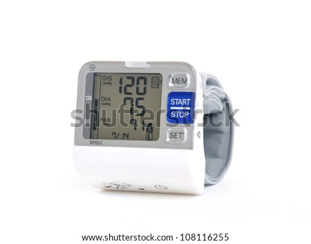 Wrist blood pressure monitor - stock photo