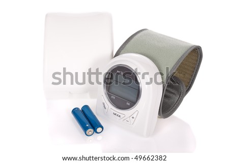 Wrist sphygmomanometer (blood pressure measure equipment) isolated on white background