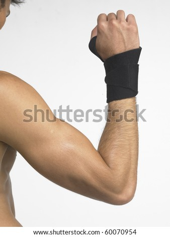 Wrist support on a man arm.