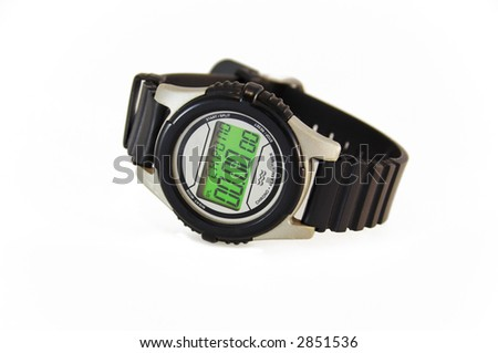 wrist-watch for sport on white surface with soft shadow - stock photo