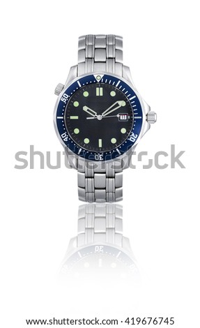 Wrist watch in white background/Wristwatch with black dial   - stock photo