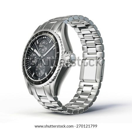wrist watch isolated on a white background - stock photo