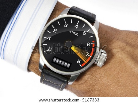 Wrist watch to measure the stress - stock photo