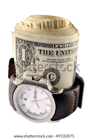 Wrist watch with dollars