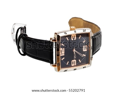 Wrist watch with leather wristlet isolated on white background - stock photo