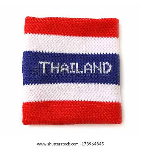 Wristband with Thailand flag pattern isolated on white background