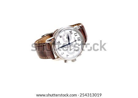wristwatch for man with brown leather bracelet isolated on white