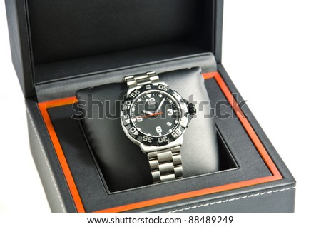 Wristwatch in the box. - stock photo