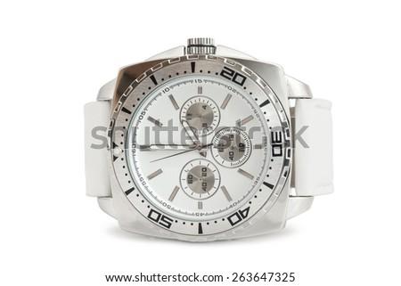Wristwatch on white background - stock photo