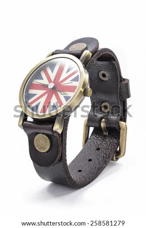 Wristwatch with the flag of England on a white background - stock photo
