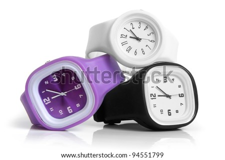 Wristwatches on a white background - stock photo