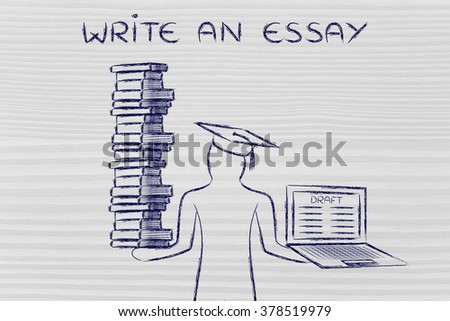Write an essay: graduate students holding a big stack of books and laptop with dissertation draft - stock photo