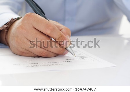 write data on the form - stock photo