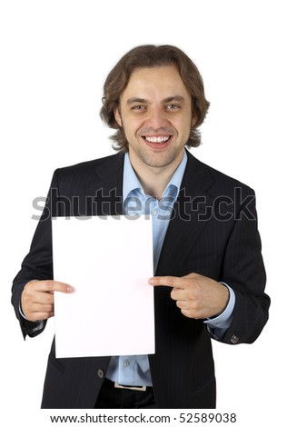 Write your ideas here - Businessman pointing to blank space