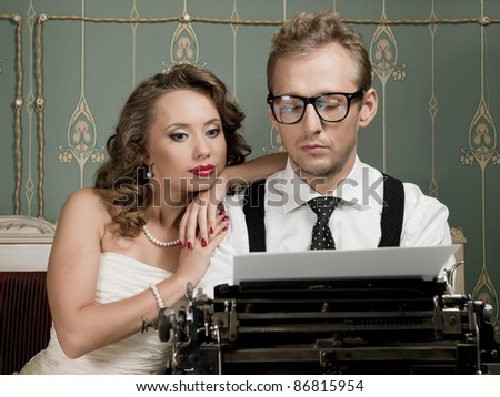 writer and his muse - stock photo