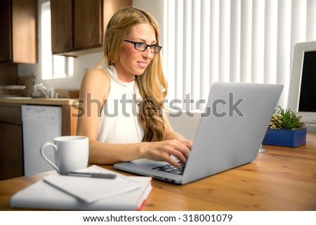 Writer blogger independent freelance blog journalist working typing home laptop computer pretty
