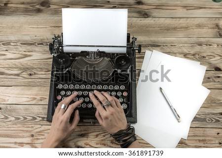 Writer publishes new book novel. Blank empty paper for your text.  Top view work table - stock photo